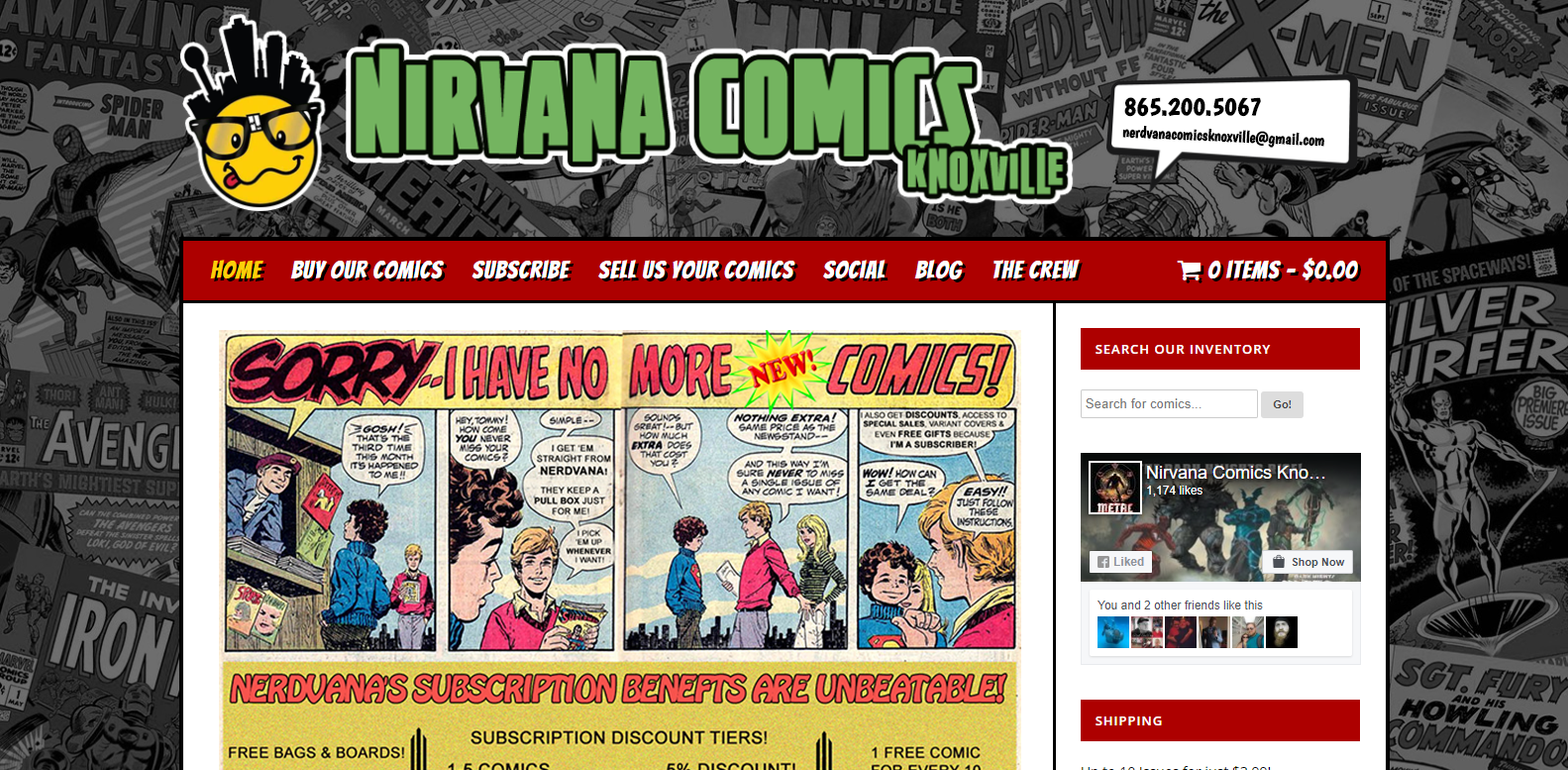 Nirvana Comics Knoxville<div style='clear:both;width:100%;height:0px;'></div><span class='cat'>Individual/Group, Small Business</span>